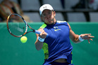 Rubin Statham plays a forehand in Auckland. Photo / Getty Images