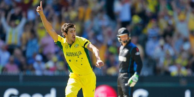 Mitchell Starc of Australia celebrates taking a wicket against New Zealand. Photo / Getty