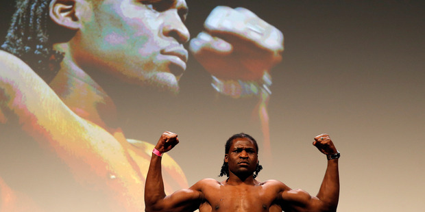 Francis Ngannou weighs in during the UFC Fight Night weigh-in. Photo/Getty Images