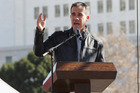 Los Angeles mayor Eric Garcetti speaks during the Women's March Los Angeles. Photo/Getty Images