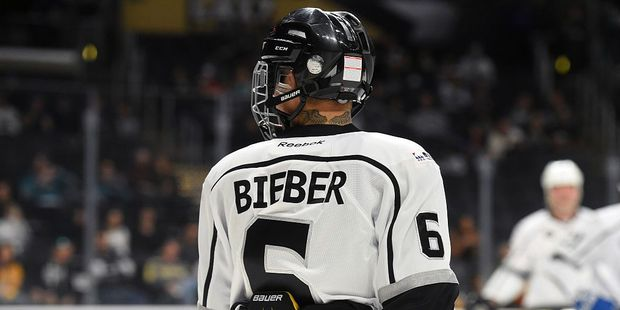 Justin Bieber skates on the ice during the 2017 NHL All-Star Celebrity Shootout. Photo / Getty