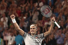 Roger Federer of Switzerland celebrates championship point in his Men's Final match against Rafael Nadal. Photo / Getty