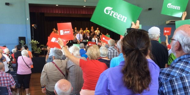 Labour and Greens supporters. Photo / Audrey Young