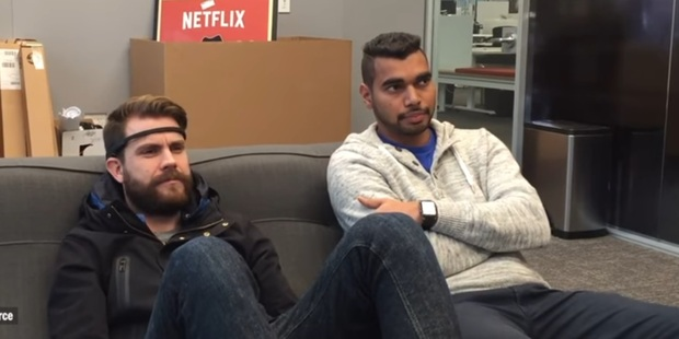 Loading The headband allows users to control playback by thinking. Photo / Netflix