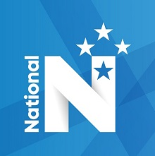The freshly-styled National Party logo using a lighter, brighter blue.