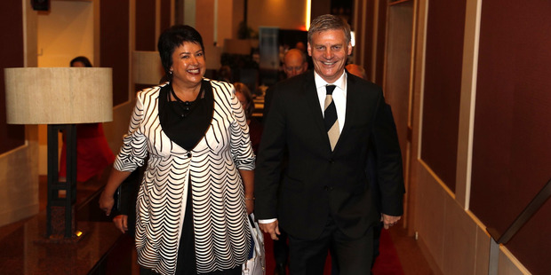 National MP Paula Bennett arrives with PM Bill English for the party's state-of-the-nation speech at the Stamford Plaza today. Photo / Dean Purcell