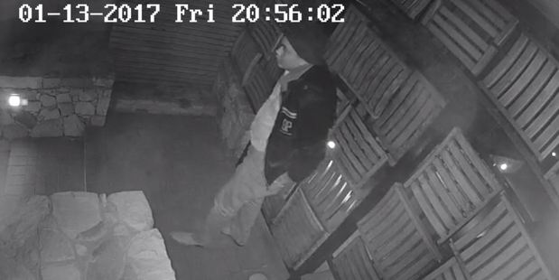 CCTV still of the burglary of the Camps Bay property in Capetown where Barry Soper and Heather Du Plessis Allan were staying. Photo / Supplied