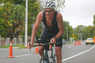 John Brugh shows that age does not weary him while cycling in the duathlon on Saturday. Photo Bevan Conley