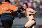 A streaker invades Eden Park during Black Caps v Australia ODI. Photo / Andrew Cornaga