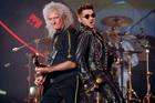 Brian May of Queen, left, and Adam Lambert perform in Los Angeles. Photo / AP