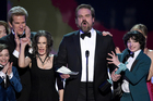 David Harbour and the cast of Stranger Things accepting their award for Drama Series Ensemble. Photo/AP