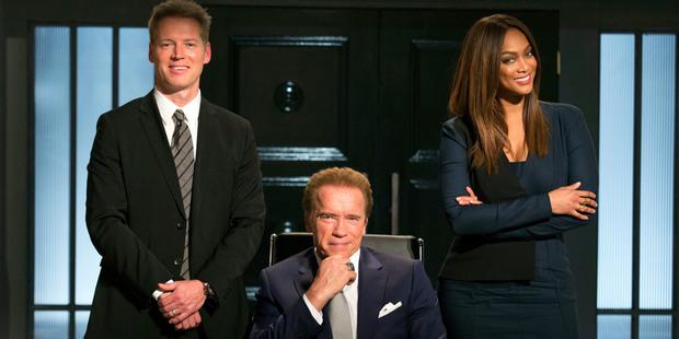 Patrick Knapp Schwarzenegger, Arnold Schwarzenegger and Tyra Banks from The New Celebrity Apprentice. Photo / AP