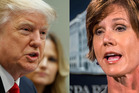 President Donald Trump and acting Atorney General Sally Yates. Photo / AP