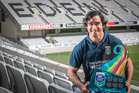 Johnathan Thurston poses with the NRL Nines trophy. Photo/Greg Bowker