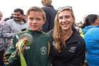 HAPPY DAYS: Dylan Harrison with Molly Meech at the parade to welcome home Tauranga's Olympic heroes last year. PHOTO: FILE