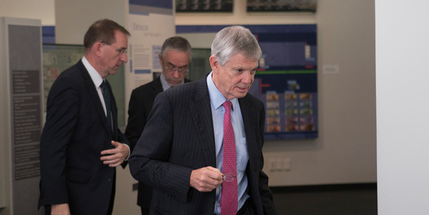 Reserve Bank Governor Graeme Wheeler arriving for his press conference in Wellington, August 2016 . New Zealand Herald photograph by Mark Mitchell.