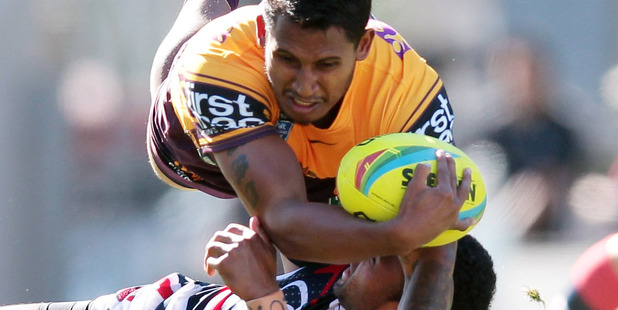 Ben Barba from Broncos with ball, 15 February 2014. Photo / Doug
