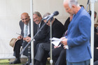 NZ First's Ron Mark and Winston Peters watch Gareth Morgan give his address at Ratana Pa. Photo / Mark  Mitchell