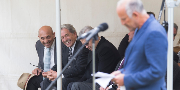 Loading NZ First's Ron Mark and Winston Peters watch Gareth Morgan give his address at Ratana Pa. Photo / Mark  Mitchell