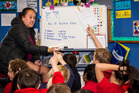 Children learning Māori at Manuka Primary School in Glenfield - the Greens would make all children learn te reo up to year 10. Photo / Regan Schoultz