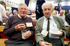 Gordon Vogtherr (left) at last year's afternoon tea, which he will attend again on Sunday, with George Foulds. PHOTO/File HBT16067412
