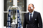 England coach Eddie Jones poses with the Six Nations Trophy. Photo/AP Photos