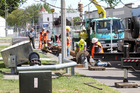 Work on a drinking water bore outside the Hastings Memorial Library, Eastbourne St, Hastings. Photo / Duncan Brown