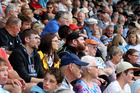 A disappointed crowd at Mclean Park as the weather stymied any chance of play. Picture / Duncan Brown