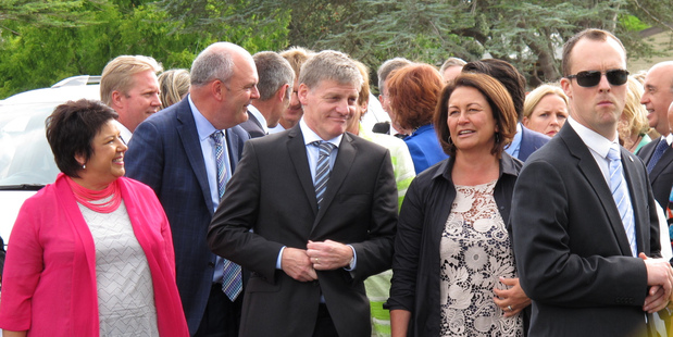 Prime Minister Bill English arrives at the Iwi Chairs Forum flanked by his deputy Paula Bennett, Finance Minister Steven Joyce and Education Minister Hekia Parata. PHOTO / PETER DE GRAAF