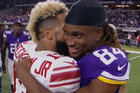 Is Odell Beckham Jnr really blowing a raspberry on Cordarrelle Patterson's neck? Photo / YouTube