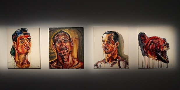 Artworks of Prison Life painted by Myuran Sukumaran are seen at the 'Another Day in Paradise' exhibition preview at Campbelltown Art Centre. Photo / Getty Images