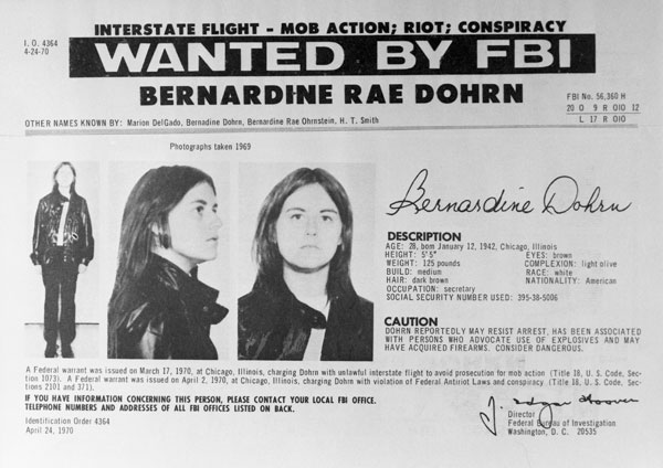 Bernardine Dohrn was placed on the FBI 'Ten Most Wanted' list in 1970 for three years. Photo / Getty Images