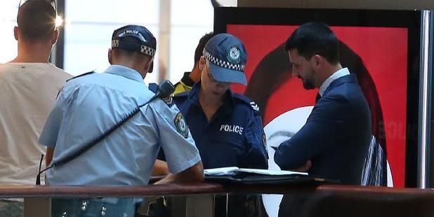 Police at Westfield Bondi after Bernard Gore's body was found in the stairwell three weeks after he disappeared and lay undiscovered in the centre's stairwell. Photo / News Corp Australia
