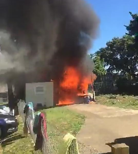 Emergency crews were called to Wesley St, Pukekohe,  just after 4pm after reports of a fire at a property there. Photo / Terry Turner, Facebook