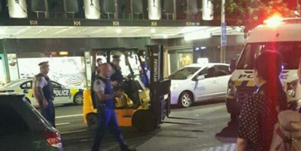 Loading The forklift was stopped on Queen St.