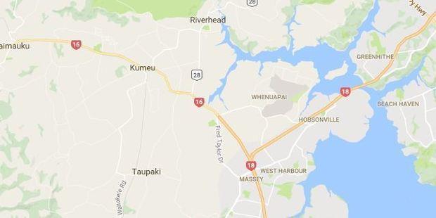 Part of SH16 near Whenuapai is closed. Photo / Google