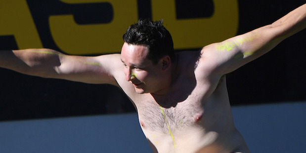 Loading A streaker invades Eden Park during the match. Photo / Photosport