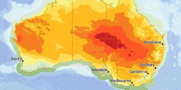 The heatwave as it moves across Australia on Friday, with the red part representing temperatures above 45C. Photo / Bureau of Meteorology