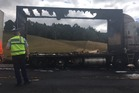 The front trailer of the truck was totally burnt out.