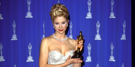 Actress Mira Sorvino holding her Oscar in Press Room at Academy Awards. Photo / Getty