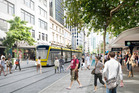 Artist's impressions of light rail in Queen St. Photo / Jasmax NZ