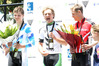 Regan Gough, centre, with runner-up James Fouche, left, and third placegetter Jack Marryatt during this year's national road race presentations. Photo/File