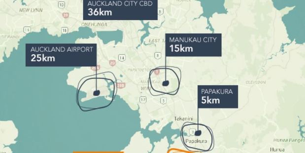 Auranga's location in relation to the CBD.