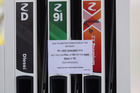 A notice on Z Energy fuel pumps in Point Chevalier in Auckland today.  Photo / Supplied.