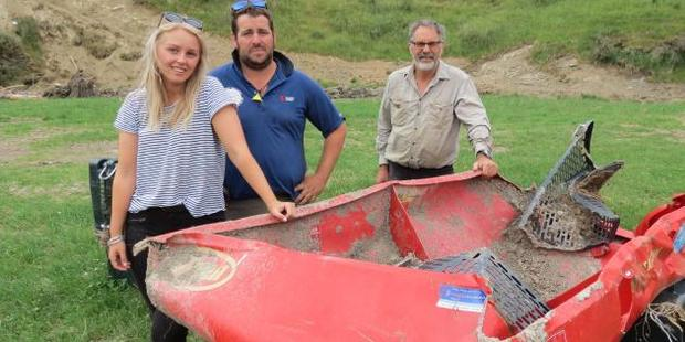 Loading Jaimee Coulter, Chris Pemberton and Rod Pemberton. Their near-new fertiliser spreader, found kilometres away in a ravine, had to be retrieved by helicopter. Photo / Yvonne O'Hara