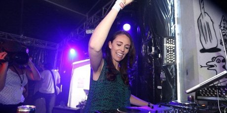 Prime Minister Jacinda Ardern on stage at Laneways Festival at Silo Park, Auckland, in 2014. Photo / Sarah Ivey