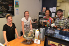 STAFF: Anne, Sonya, Gloria and Brendan at the Mischief counter. PICTURE / PAUL BROOKS