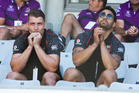 Warriors Kieran Foran and Shaun Johnson watch from the stands during the side's NRL Nines loss to the Parramatta Eels. Photo / Brett Phibbs