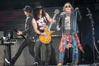 Guns n Roses Concert at Western Springs Stadium. Auckland Slash and Axl Rose on stage 4th February 2017 New Zeland Herald Photograph / Steven McNicholl
