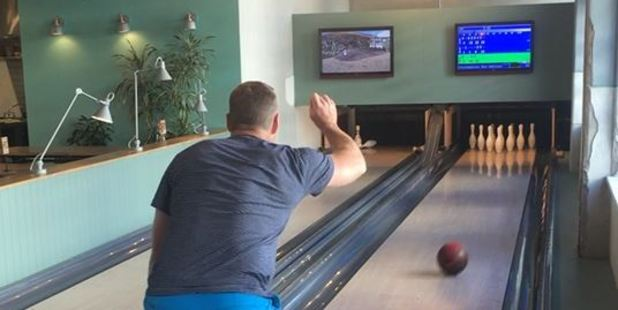 Dr Rudi's Rooftop Brewing Co. has it's own bowling alley.
